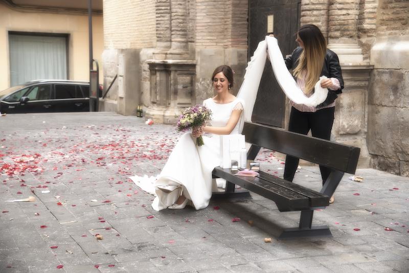 recogido elegante de novia tocado velo eva pellejero